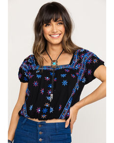 Free People Women's Aurura Embroidered Top, Black, hi-res