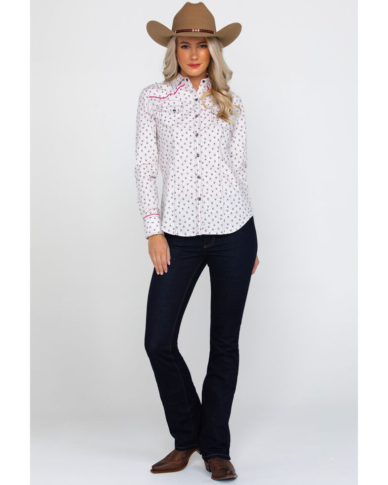 Rock & Roll Cowgirl Women's Charcoal Floral Print Long Sleeve Western Shirt , Charcoal, hi-res