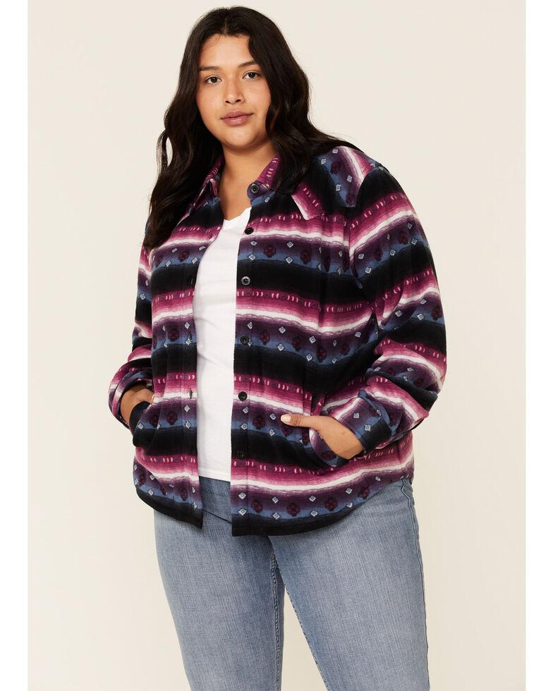 Outback Trading Co. Women's Purple Aztec Karla Long Sleeve Big Shirt - Plus, Purple, hi-res
