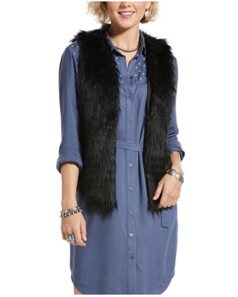 Ariat Women's Black Dazed Drapy Faux Fur Vest , Black, hi-res