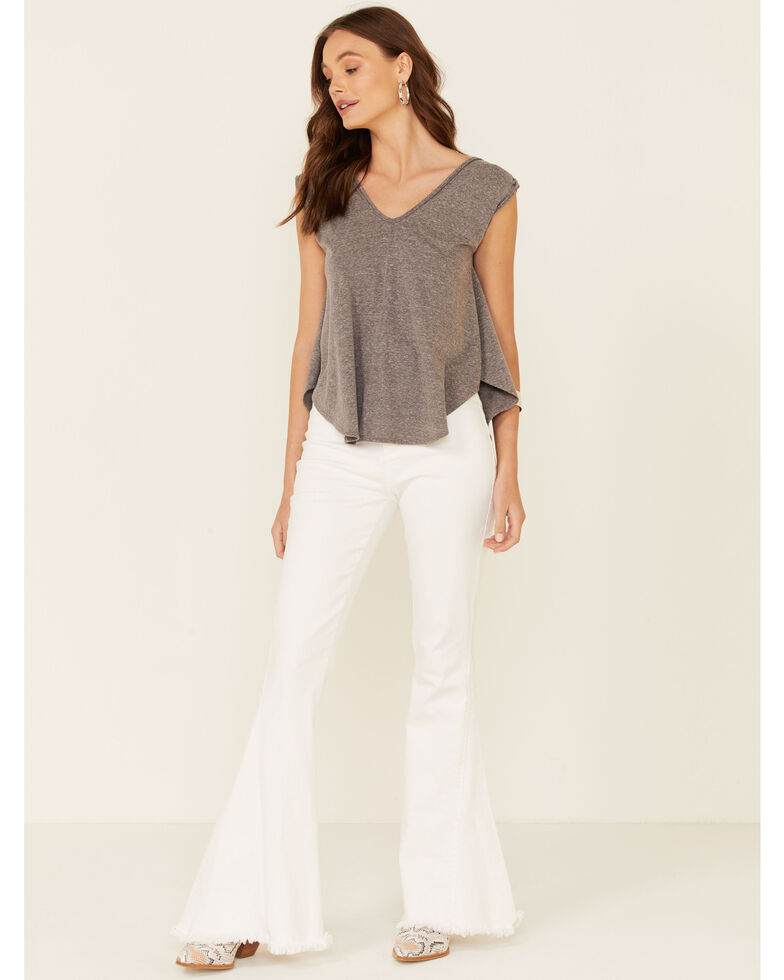 Tres Aves Women's Solid Grey Oversized Double V-Neck Short Sleeve Top , Grey, hi-res