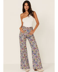 Wrangler Women's Wandered Floral Print High Rise Flare Jeans, Multi, hi-res