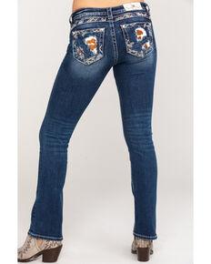 Miss Me Women's Dark Wash Cowhide Blowout Bootcut Jeans, Indigo, hi-res