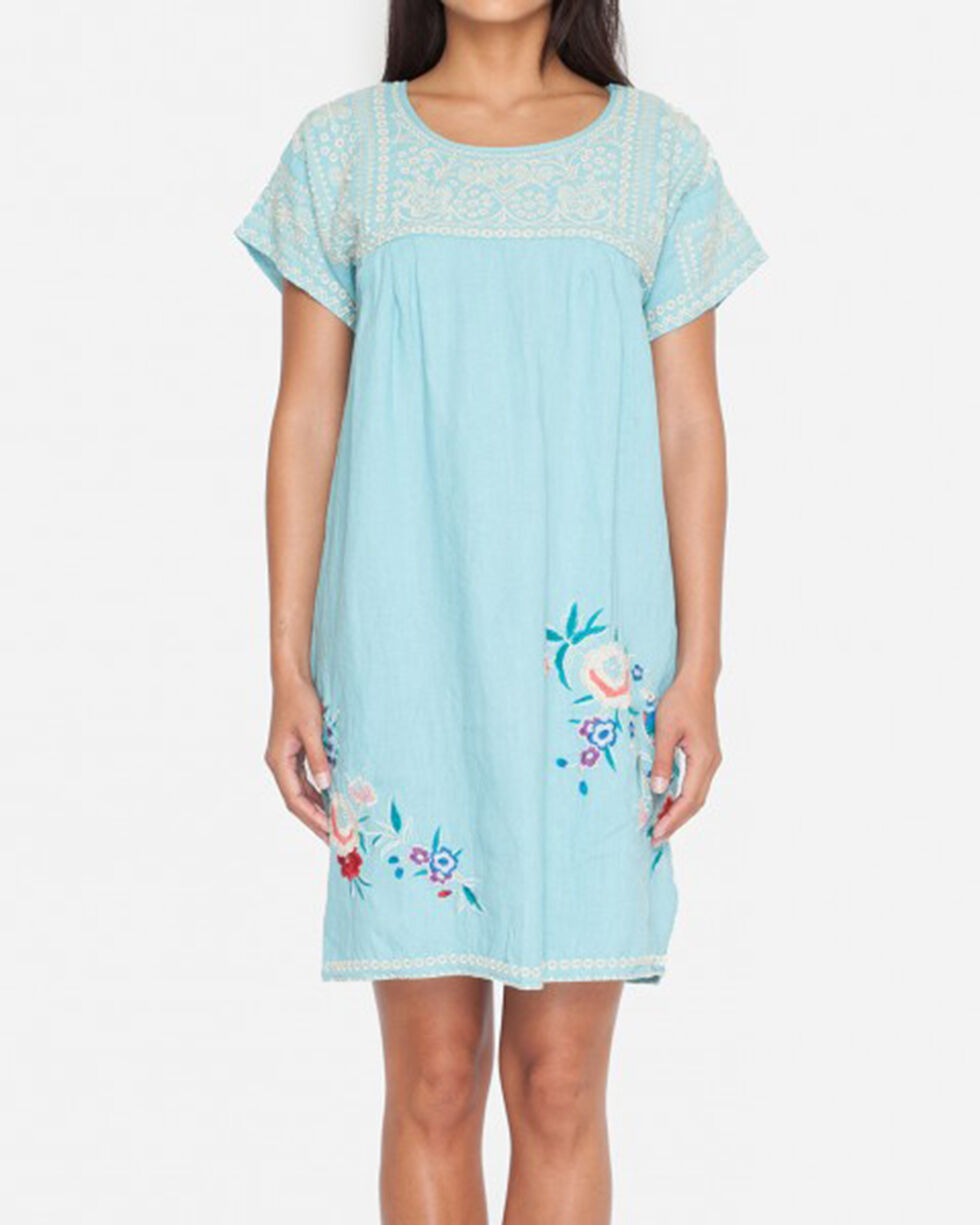 Johnny Was Women's Ellza Pleated Peasant Long Tunic , Light Blue, hi-res