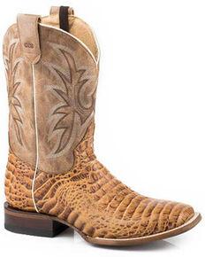 Roper Men's Tan Caiman Embossed Western Boots - Square Toe, Tan, hi-res