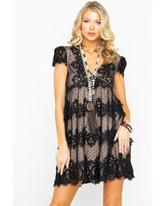 Miss Me Women's Black & Nude Lace Dress, Black, hi-res