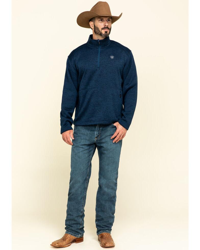 Ariat Men's Indigo Caldwell 1/4 Zip Pullover Sweatshirt , Indigo, hi-res