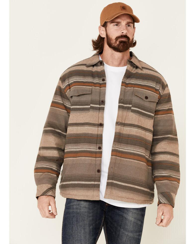 North River Men's Dark Earth Sherpa Lined Striped Flannel Shirt Jacket , Brown, hi-res