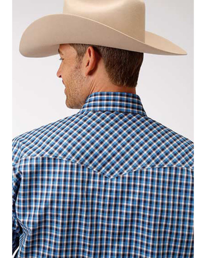 Amarillo Men's Americana Check Plaid Snap Short Sleeve Western Shirt , Blue, hi-res