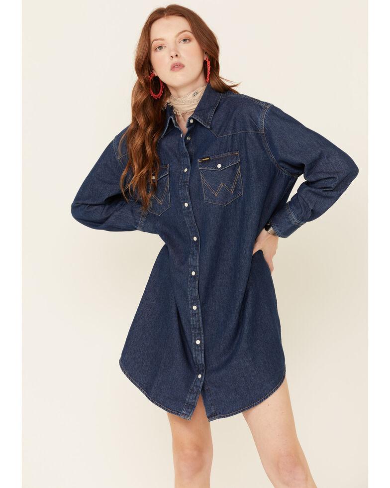 Wrangler Women's Dark Wash Western Dress, Blue, hi-res
