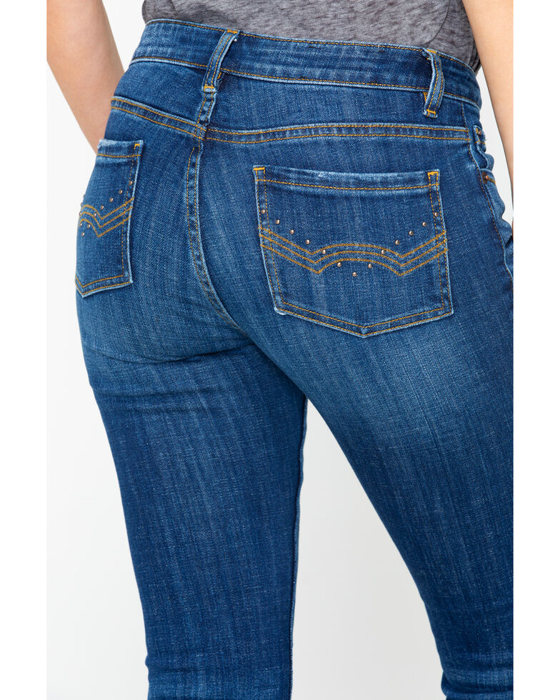 Idyllwind Women's Western Flair Fringe Bootcut Jeans , Blue, hi-res