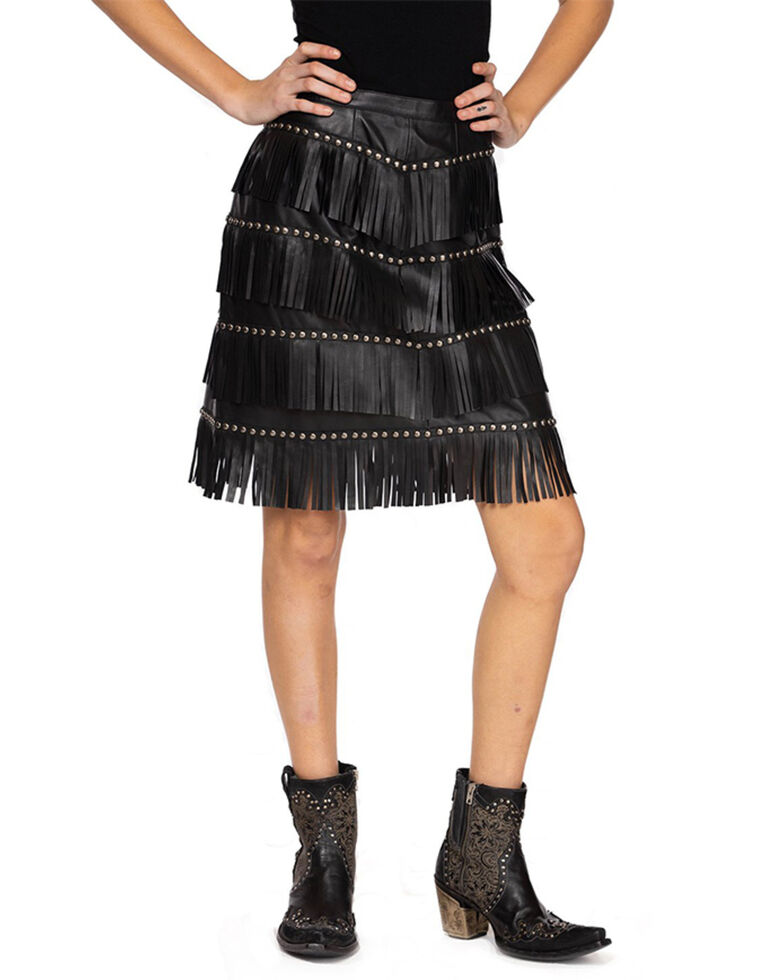 Double D Ranchwear Women's Queen Of The Rodeo Fringe Skirt, Black, hi-res