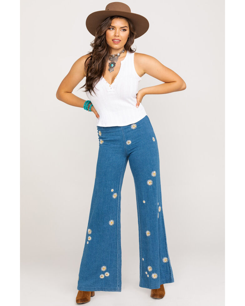 Free People Women's Daisy Blue Jeans, Blue, hi-res