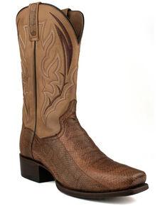 Dan Post Men's Exotic Snake Skin Leather Western Boots - Round Toe, Brown, hi-res
