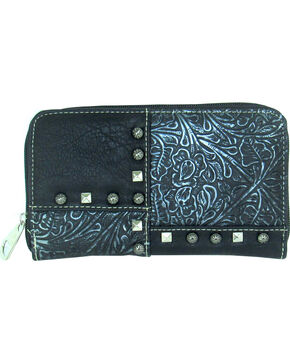 Savana Women's Faux Leather Zip Around Patchwork Wallet , Black, hi-res