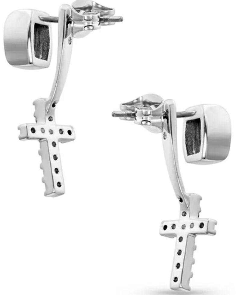 Montana Silversmiths Women's Star Lights Faith Cross Earrings, Silver, hi-res