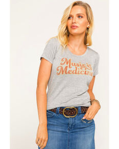Idyllwind Women's Music Is Medicine Trustie Tee , Heather Grey, hi-res