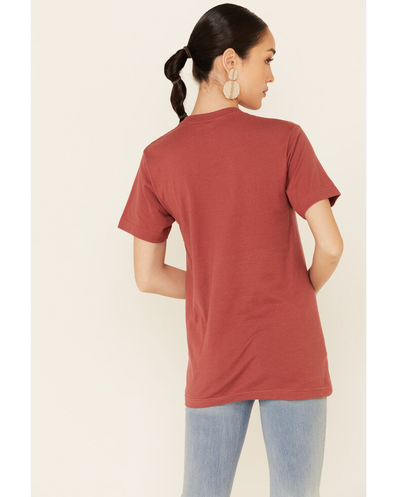 Ali Dee Women's More Howdy Less Hate Graphic Short Sleeve Tee , Rust Copper, hi-res