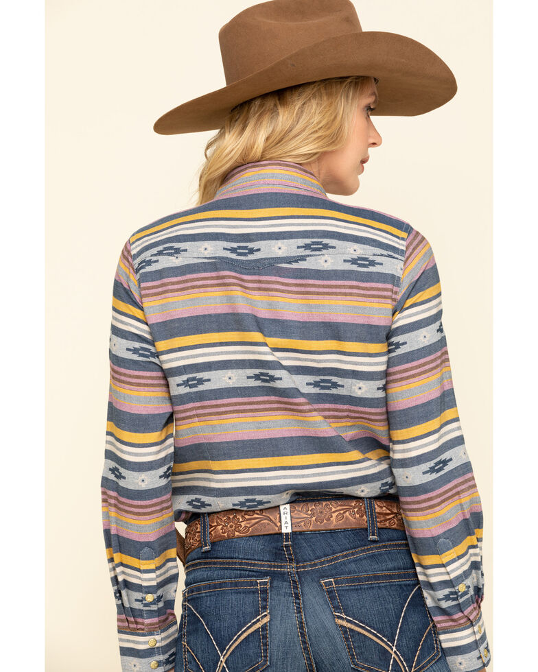 Ariat Women's R.E.A.L. Sunset Beauty Long Sleeve Western Shirt, Blue, hi-res