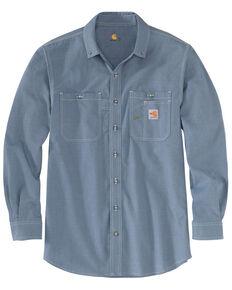 Carhartt Men's FR Force LW Performance Woven Long Sleeve Work Shirt - Big , Steel Blue, hi-res