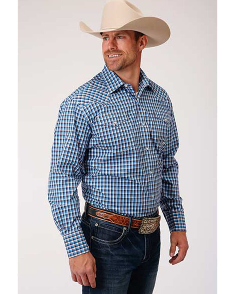 Roper Men's Amarillo Heritage Americana Check Plaid Long Sleeve Western Shirt , Blue, hi-res