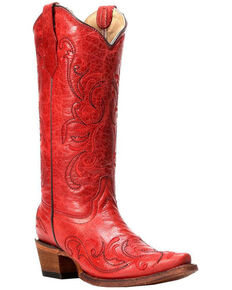 Circle G Red Leather Cowgirl Boots - Snip Toe, Red, hi-res