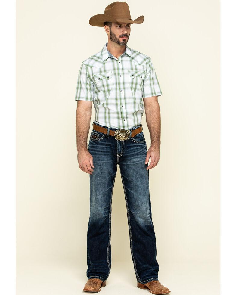 Cody James Men's Woodlands Large Plaid Short Sleeve Western Shirt - Tall  , White, hi-res