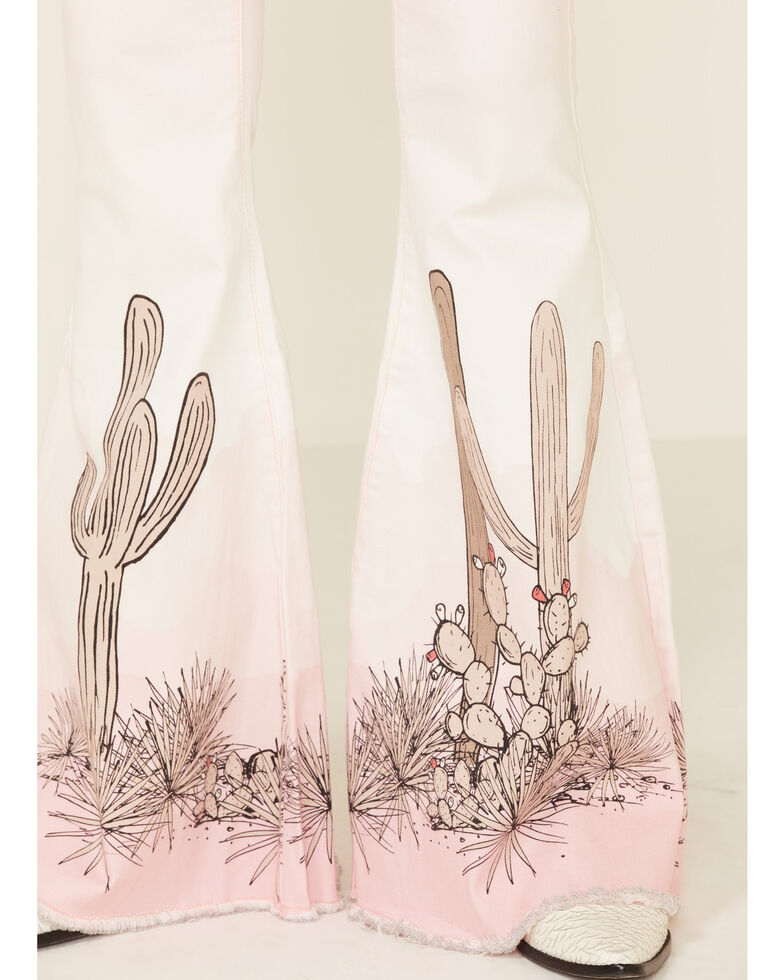 Ranch Dressin' Women's Pink Cactus Flare Leg Jeans, Pink, hi-res