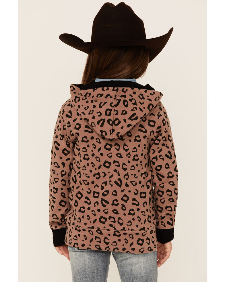 Ampersand Avenue Girls' Tan & Black Leopard Print 1/4 Zip Pullover , Tan, hi-res