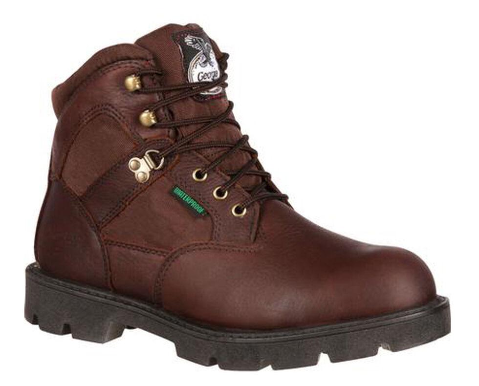 Georgia Homeland Waterproof Work Boots - Round Toe, Brown, hi-res
