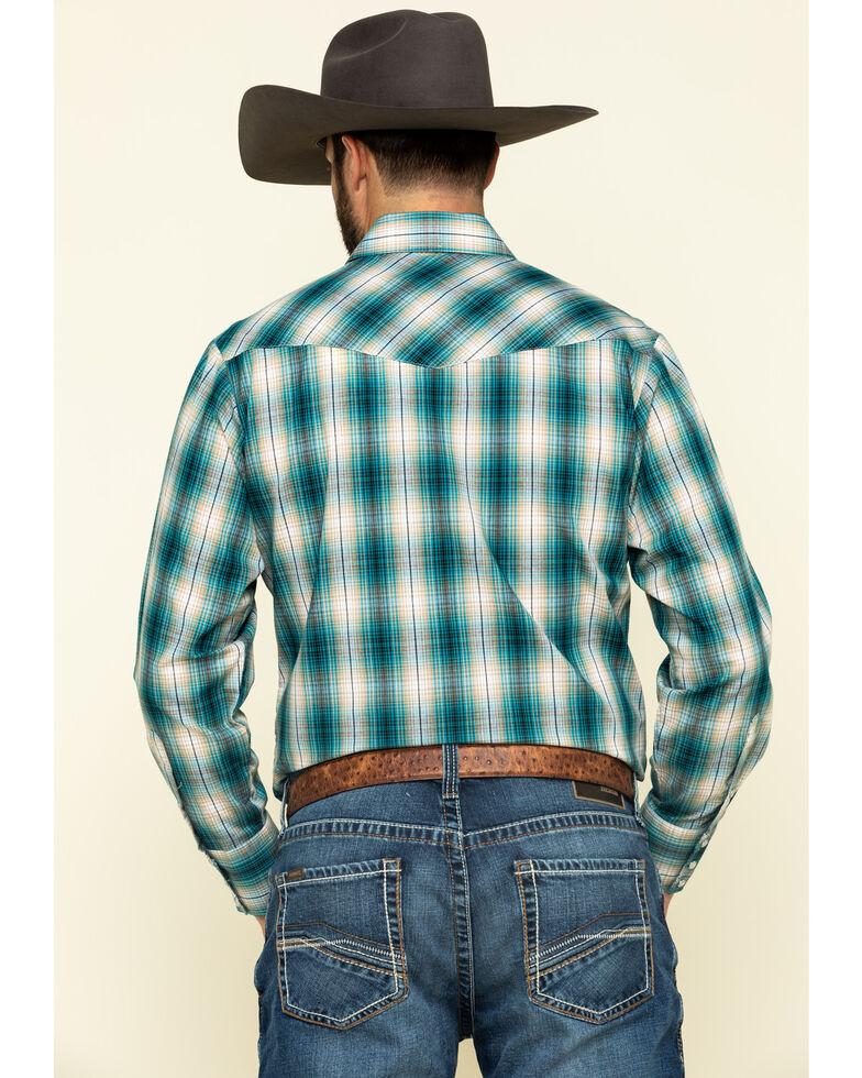 Roper Men's Classic Teal Plaid Long Sleeve Western Shirt , Green, hi-res