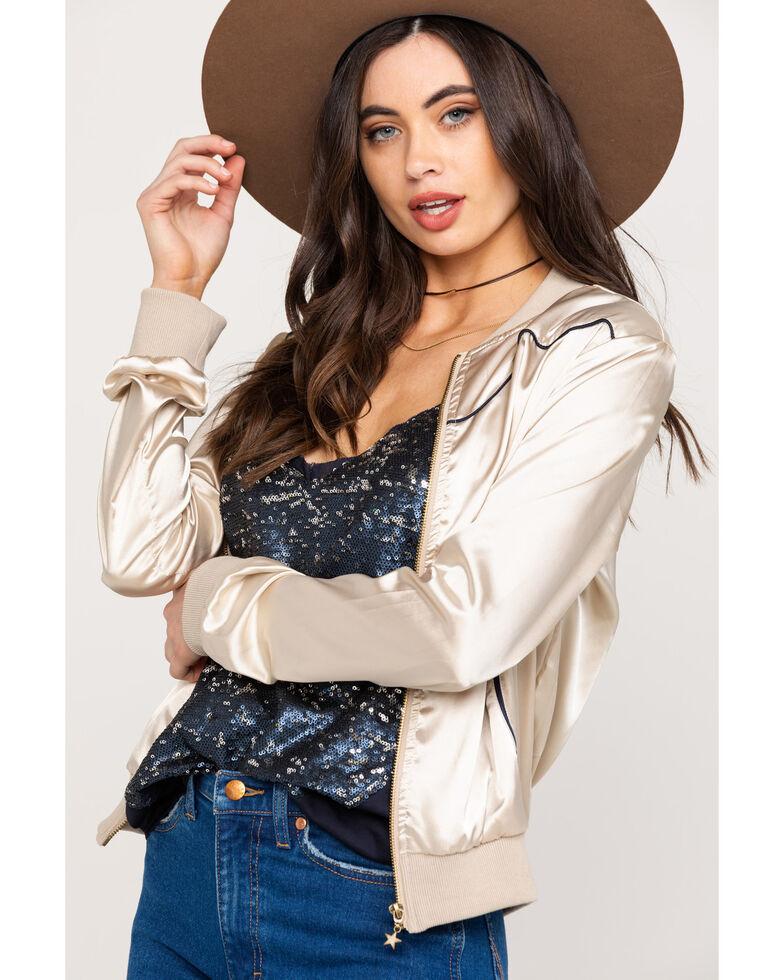 Roper Women's Satin Bucking Bronco Bomber Jacket , White, hi-res