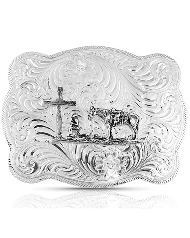 Montana Silversmiths Women's German Silver Christian Cowboy Western Belt Buckle, Silver, hi-res