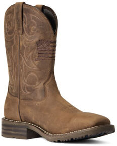 Ariat Men's Distressed Brown Hybrid Patriot H2O Performance Western Boot - Wide Square Toe , Brown, hi-res