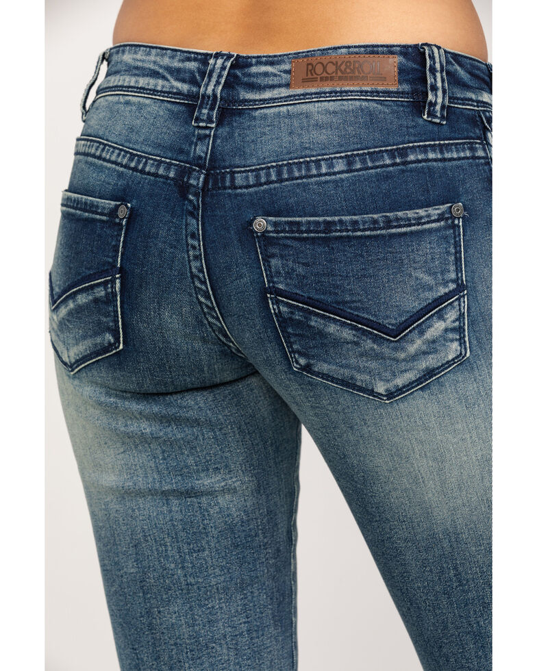 Rock & Roll Cowgirl Women's Extra Stretch Braided Bootcut Jeans, Blue, hi-res