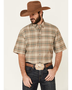 Ariat Men's Sand Small Plaid VentTek Drift Short Sleeve Button-Down Western Shirt , Beige/khaki, hi-res