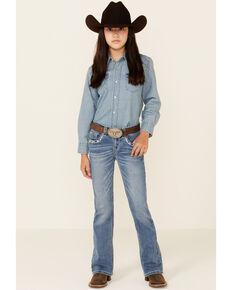 Shyanne Girls' Medium Wash Chevron Stitch Pocket Bootcut Jeans - Little, Blue, hi-res