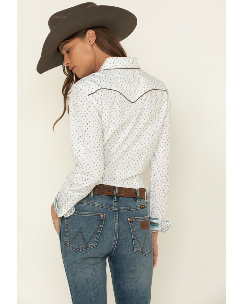 Rough Stock by Panhandle Women's Picacho Southwest Long Sleeve Western Shirt, Ivory, hi-res