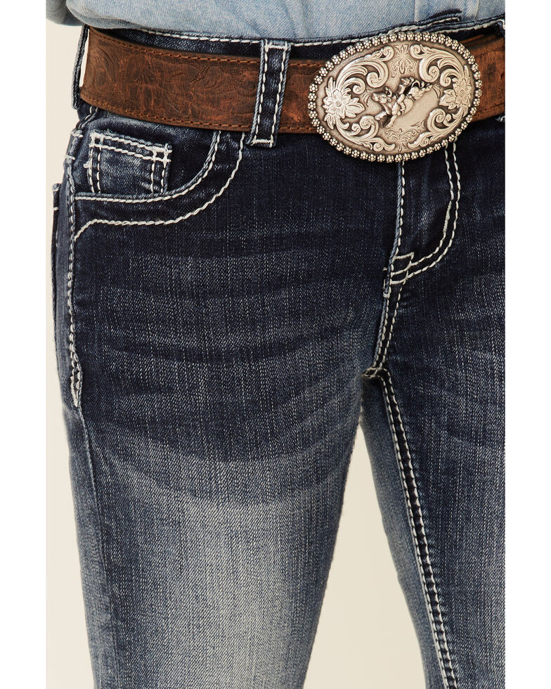 Grace In LA Girls' Medium Wash Embroidered Aztec Dreamcatcher Pocket Bootcut Jeans , Blue, hi-res