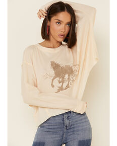 Coco + Jaimeson Women's Ivory Born To Be Free Horse Graphic Thermal Tee , Ivory, hi-res