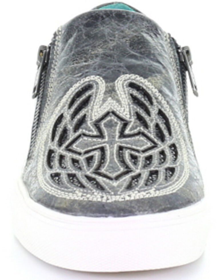 Corral Women's Black Cross & Wings Glitter Inlay Shoes, Black, hi-res
