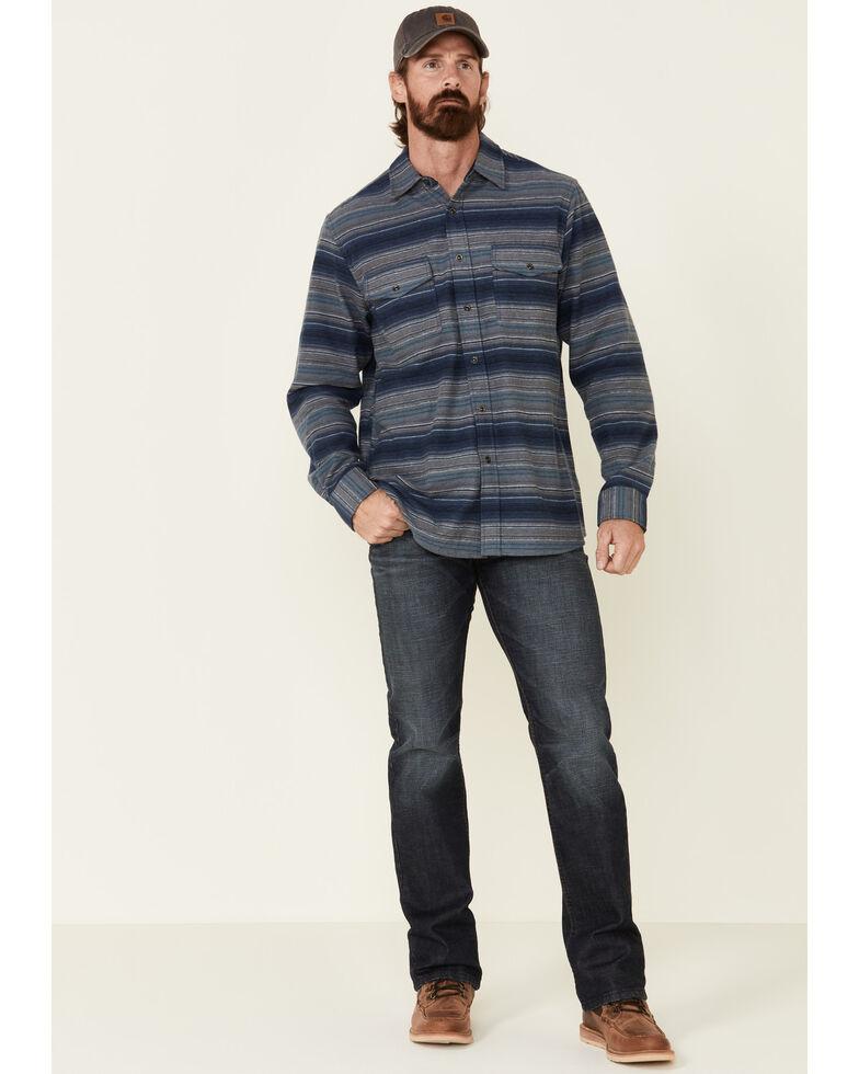 North River Men's Dark Blue Lake Striped Long Sleeve Western Flannel Shirt , Blue, hi-res