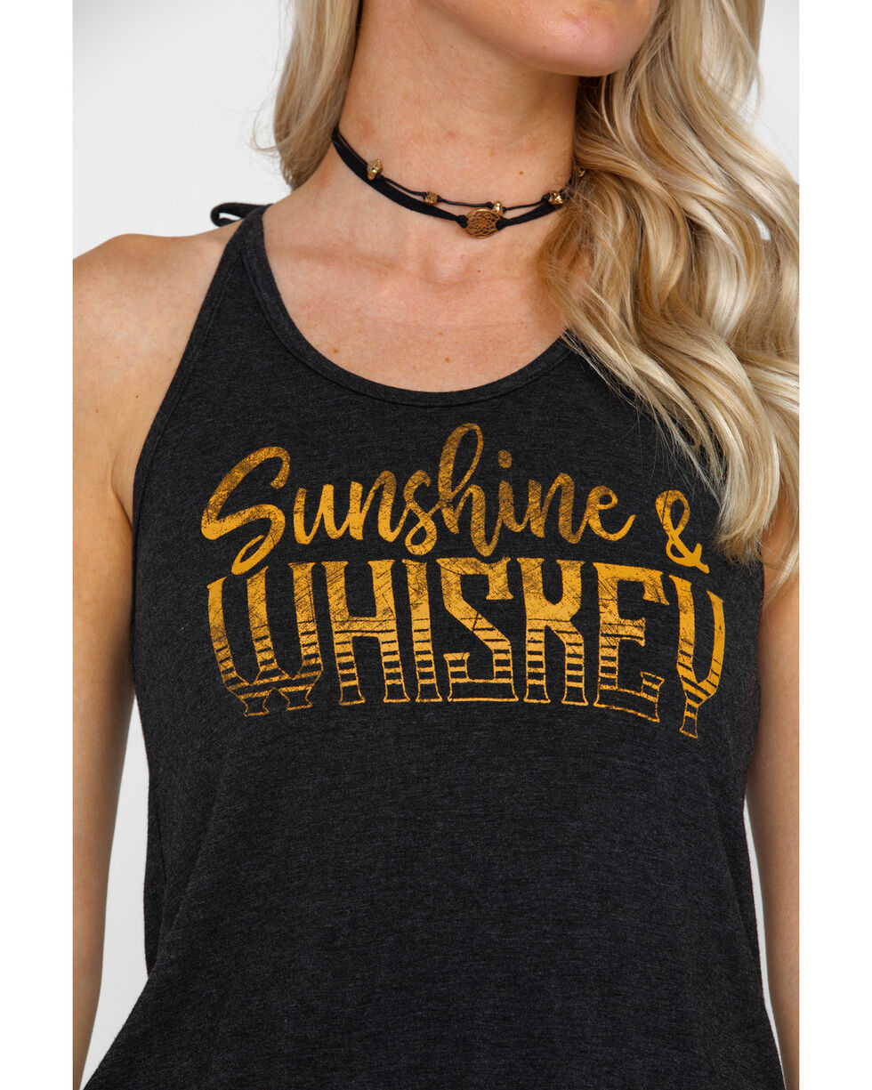 Rock & Roll Cowgirl Women's Sunshine & Whiskey Tank, Charcoal, hi-res