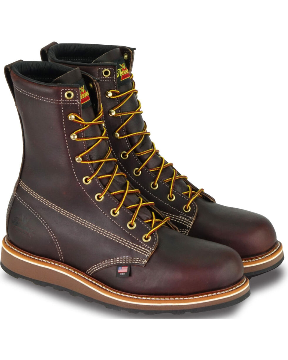 "Thorogood Men's 8"" American Heritage Wedge Sole Boot - Steel Toe, Dark Brown, hi-res"