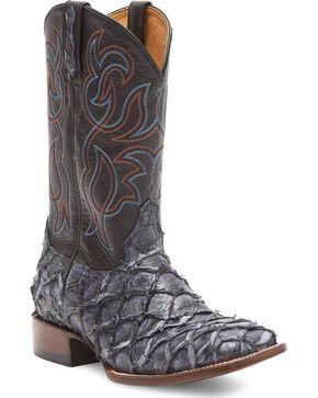 Cody James Men's Navy Pirarucu Exotic Boots - Square Toe, Navy, hi-res