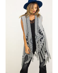 Shyanne Women's Winter Wooly Fringed Whisper Aztec Knit Shawl, Grey, hi-res