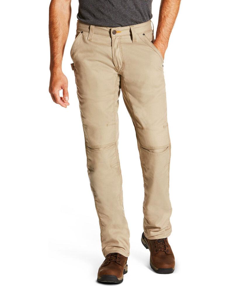 Ariat Men's Rebar M4 Low Rise Workhorse Canvas Bootcut Pants, Beige/khaki, hi-res