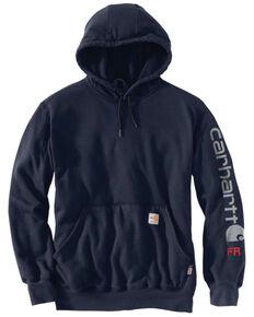 Carhartt Men's Navy FR Force Midweight Signature Logo Hooded Work Sweatshirt - Tall, Navy, hi-res