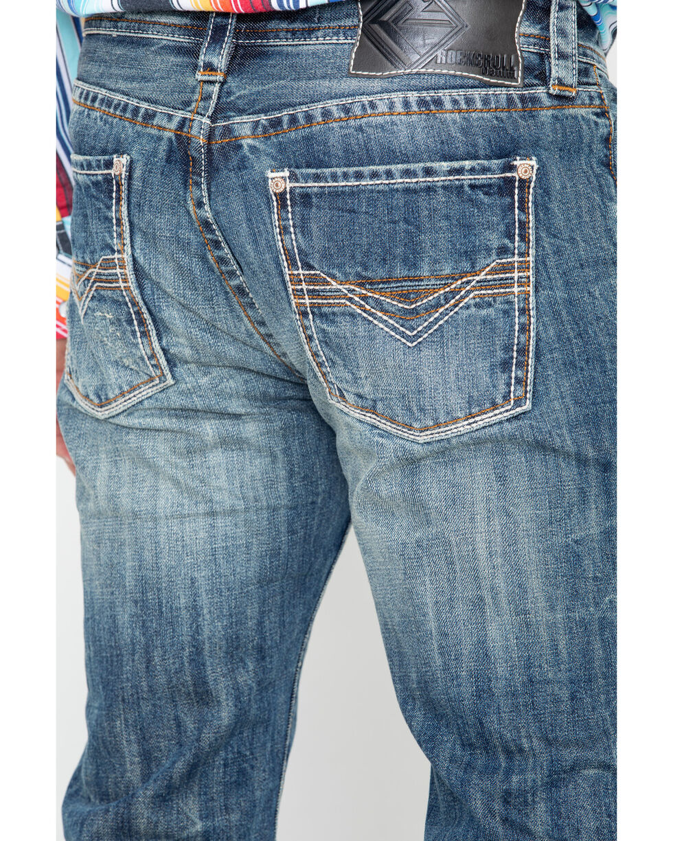 Rock & Roll Cowboy Mens' Triple Bean Stitch Reflex Pistol Boot Jeans , Blue, hi-res