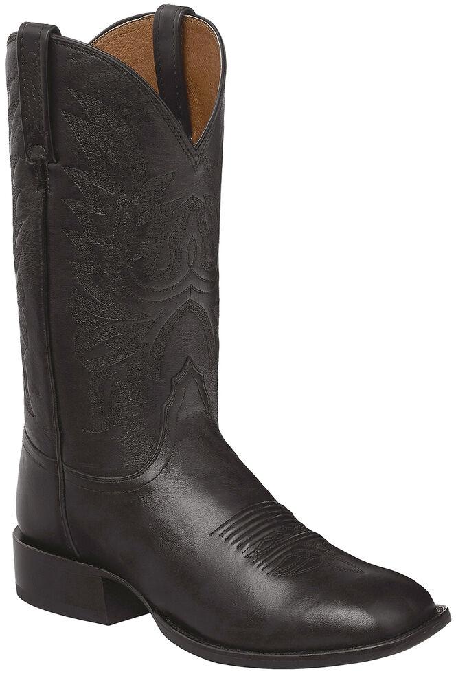 Lucchese Handmade Black Jason Lone Star Calf Cowboy Boots - Square Toe , , hi-res